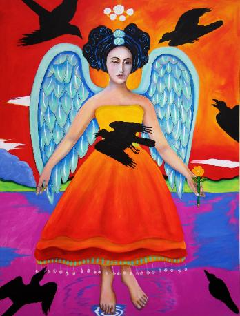 Archangel Zadkiel, original acrylic painting of archangle